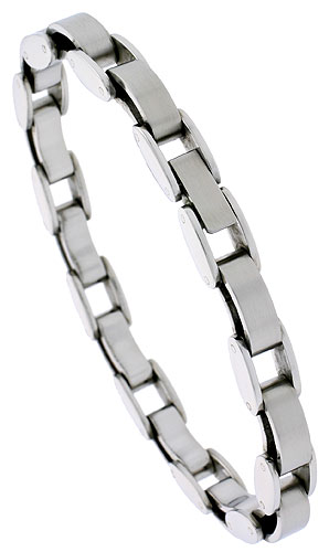Stainless Steel Fancy Link Bracelet for Women, 7.5 inches