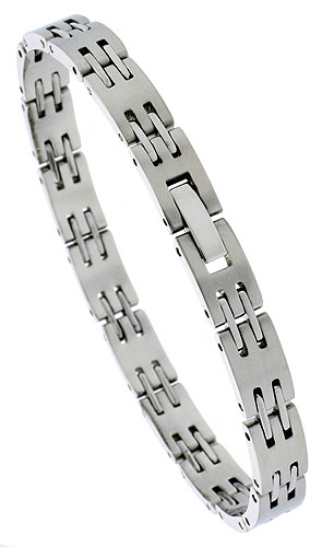 Stainless Steel Bar Link Bracelet for Women, 7.5 inches