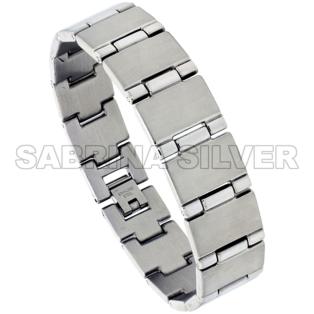 Stainless Steel Bar Bracelet For Men, 5/8 inch wide, 8 inch