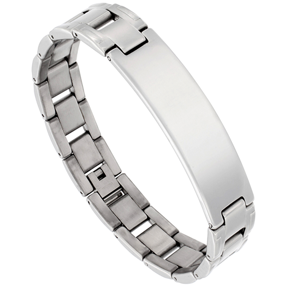 Stainless Steel H-Link ID Bar Bracelet For Men, 1/2 inch wide, 8 inch