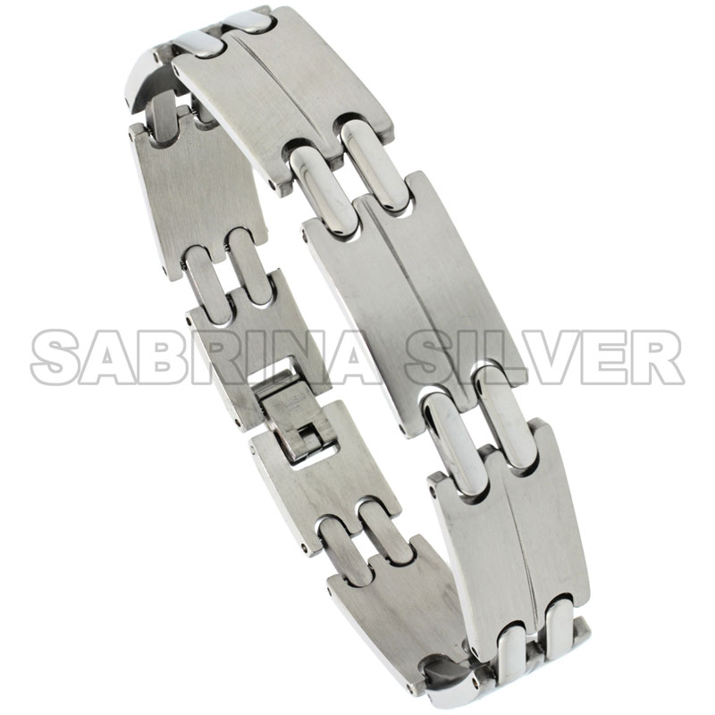Stainless Steel Double Bar Link Bracelet For Men, 1/2 inch wide, 8 inch