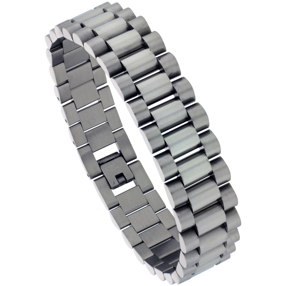Stainless Steel Rolex Style Bracelet For Men, 5/8 inch wide, 8.5 inch