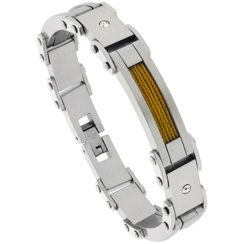 Stainless Steel Cable Bracelet For Men Gold Finish Crystals Accents, 8 1/2 inch