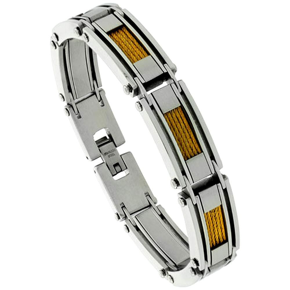 Stainless Steel Cable Bracelet For Men Gold Finish, 8 1/2 inch