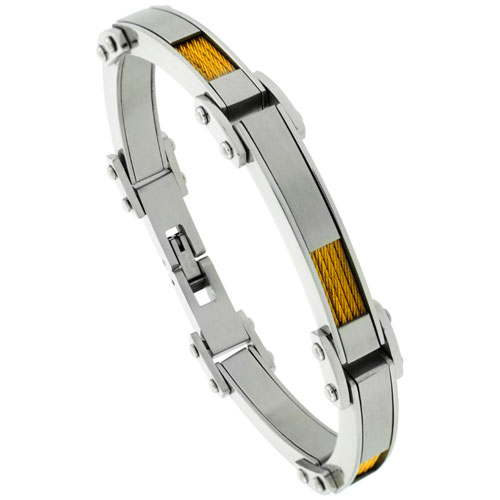 Stainless Steel Cable Bracelet For Men Gold Finish 1/4 inch wide, 8 1/2 inch