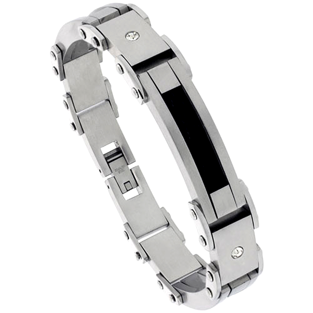 Stainless Steel Cable Bracelet For Men Black Finish Crystals Accent, 8 1/2 inch