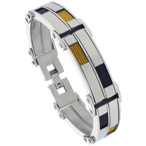 Stainless Steel Cable Bracelet For Men Two-tone Black & Gold Finish, 8 1/2 inch