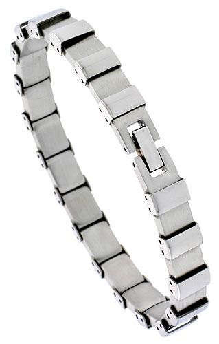 Stainless Steel Bracelet For Men Square Links, 8 inch long