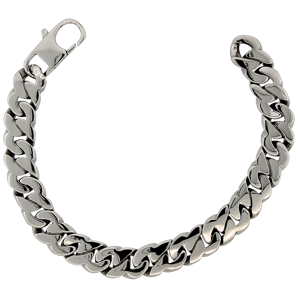 Stainless Steel Flat Cuban Link Bracelet For Men Hefty Hand Made High polish 1/2 inch wide, size 8.5 inch