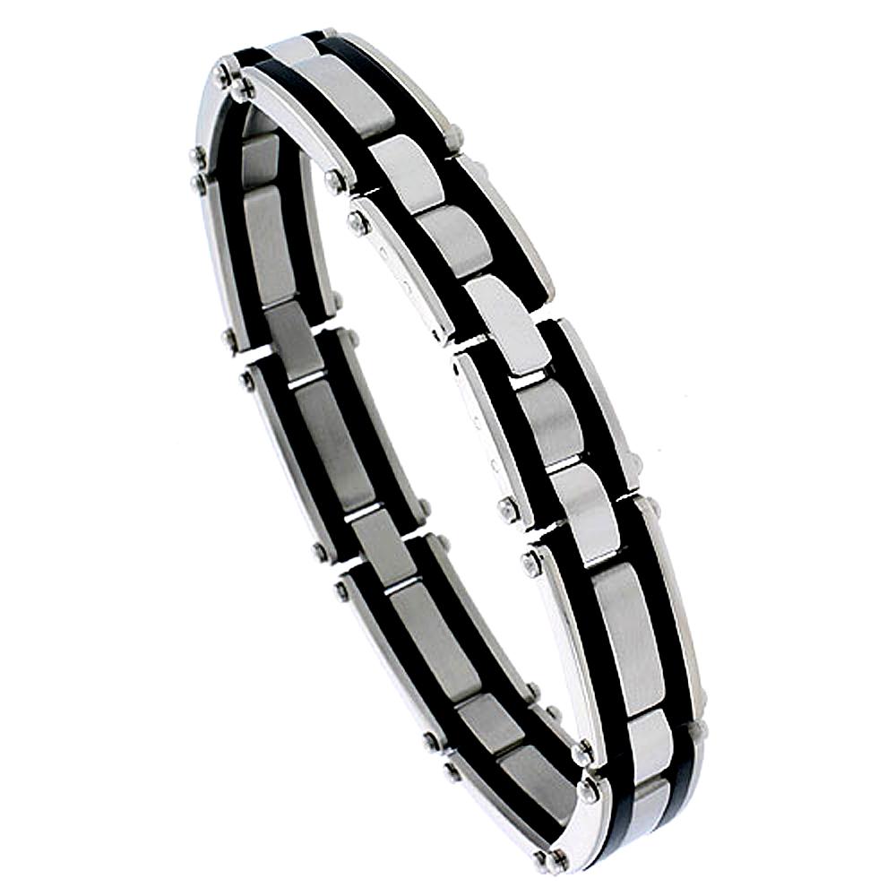 Stainless Steel Bracelet For Men Black Rubber Accent For Men 1/2 inch wide, 8 1/4 inch long