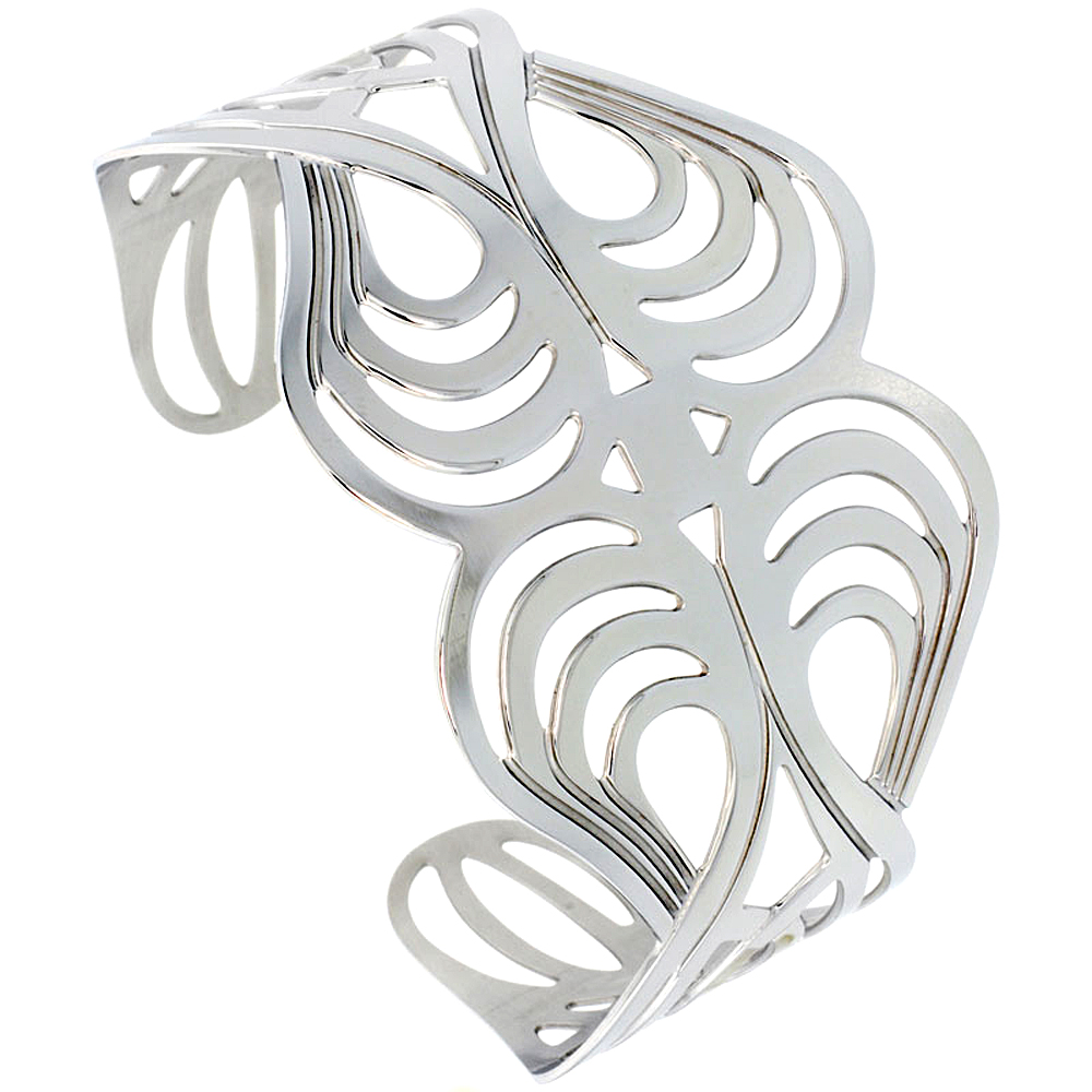Stainless Wide Steel Cuff Bracelet for Women Swirl Pattern Cut-out 1 3/4 inch wide, size 7.5 inch