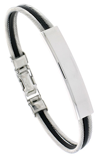 Stainless Steel Cable ID Bracelet For Men Black Rubber Accent 5/16 inch wide,