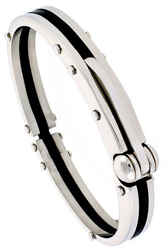 Stainless Steel Bangle Bracelet For Men Black Rubber Accent 3/8 inch wide, 8 inch long