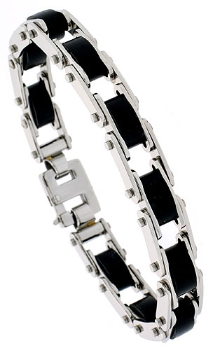 Stainless Steel Bracelet For Men Black Rubber Accent, 1/2 inch wide, 8 inch long