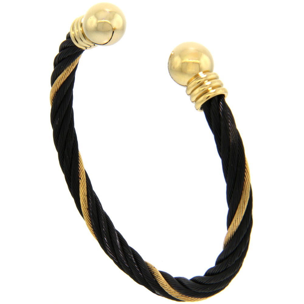 Stainless Steel Cable Golf Bracelet for Women Black & Gold 2-Tone Ball Ends, 7 inch