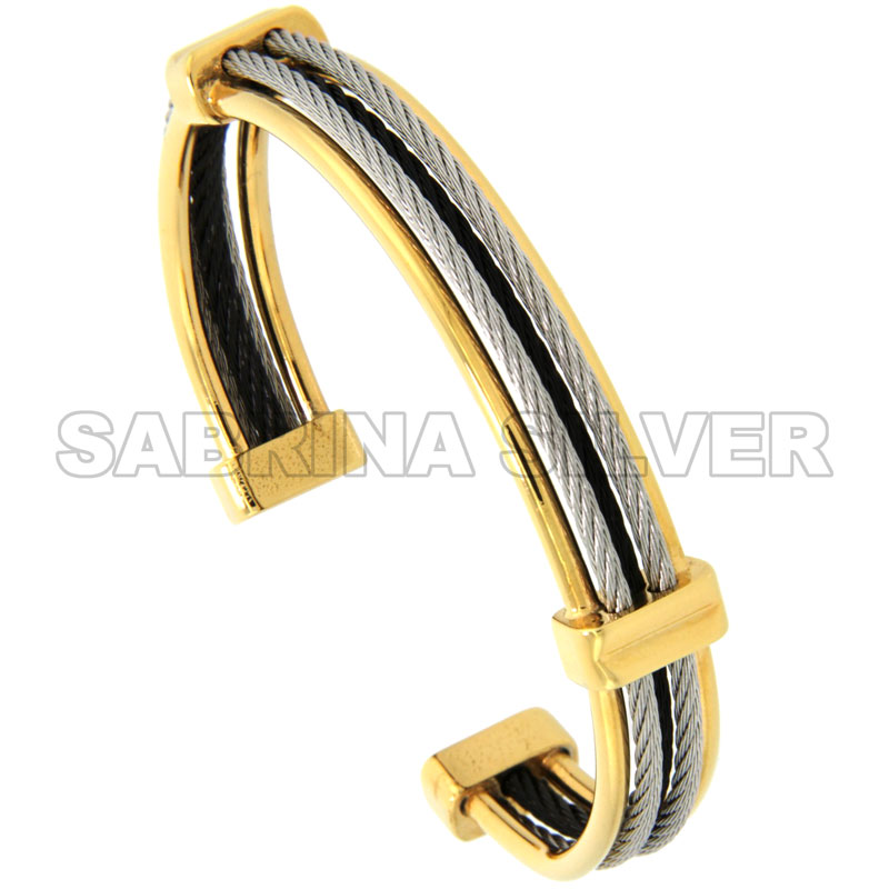 Stainless Steel Cable Golf Bracelet for Women Tri-Color, 7 inch