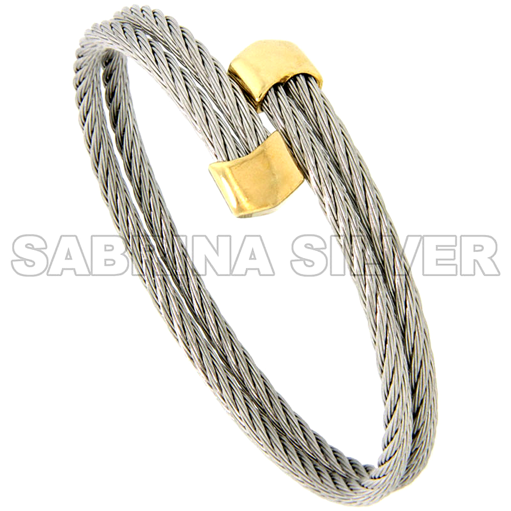 Stainless Steel Cable Golf Bracelet for Women Gold-Tone Ends, 7 inch