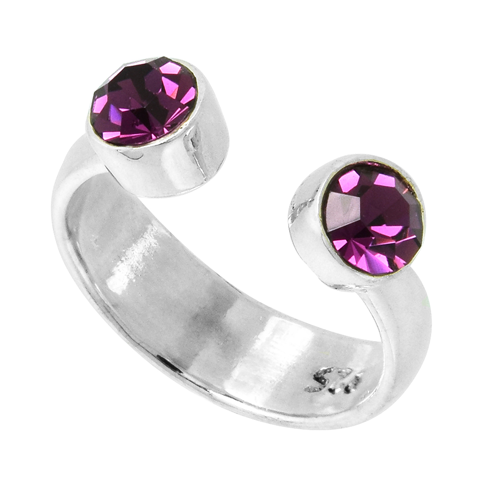 Amethyst-colored Crystals (February Birthstone) Adjustable Toe Ring / Kid's Ring in Sterling Silver, sizes 2 to 4