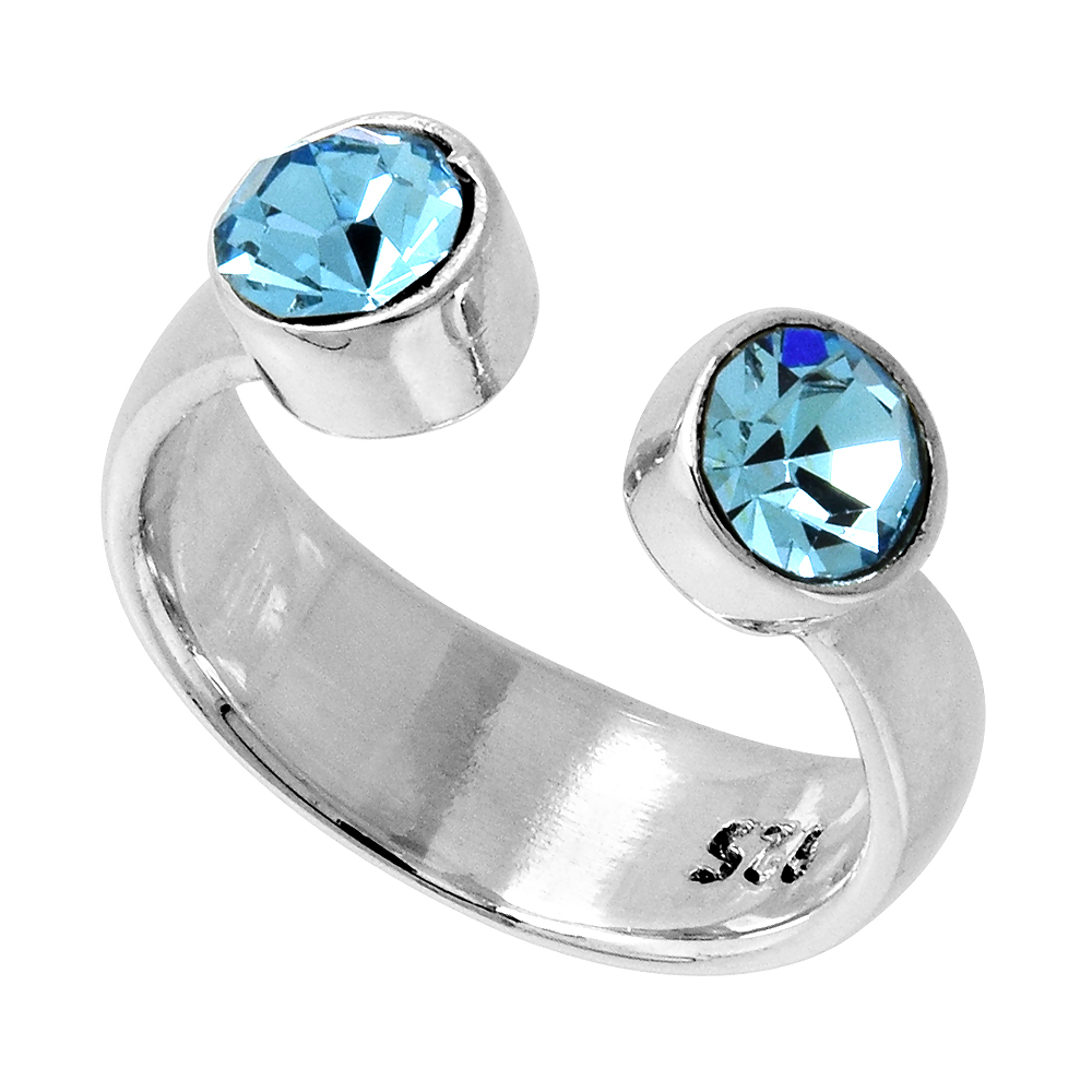 shopcart colored adjustable toe aquamarine ring kid in impl sabrinasilver s home crystals rings march birthstone sterling