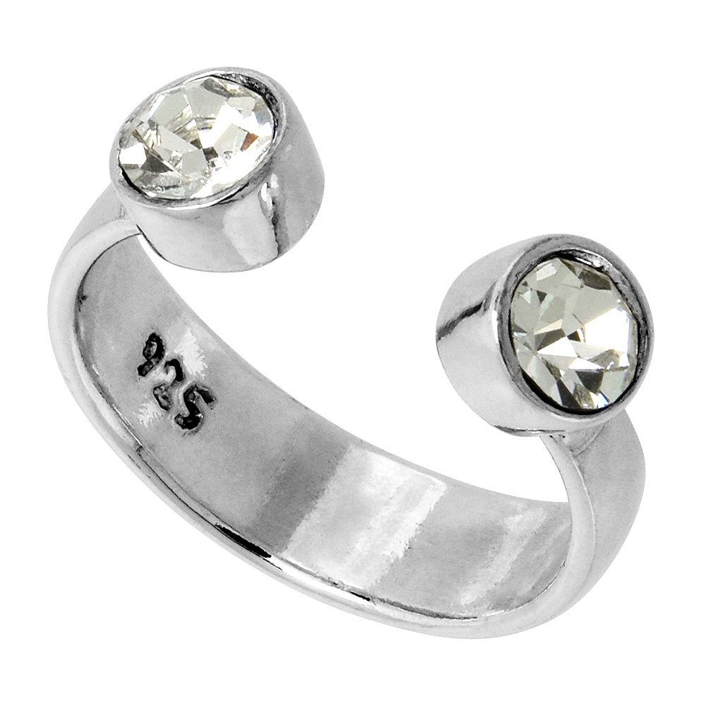 Clear Crystals (April Birthstone) Adjustable Toe Ring / Kid's Ring in Sterling Silver, sizes 2 to 4