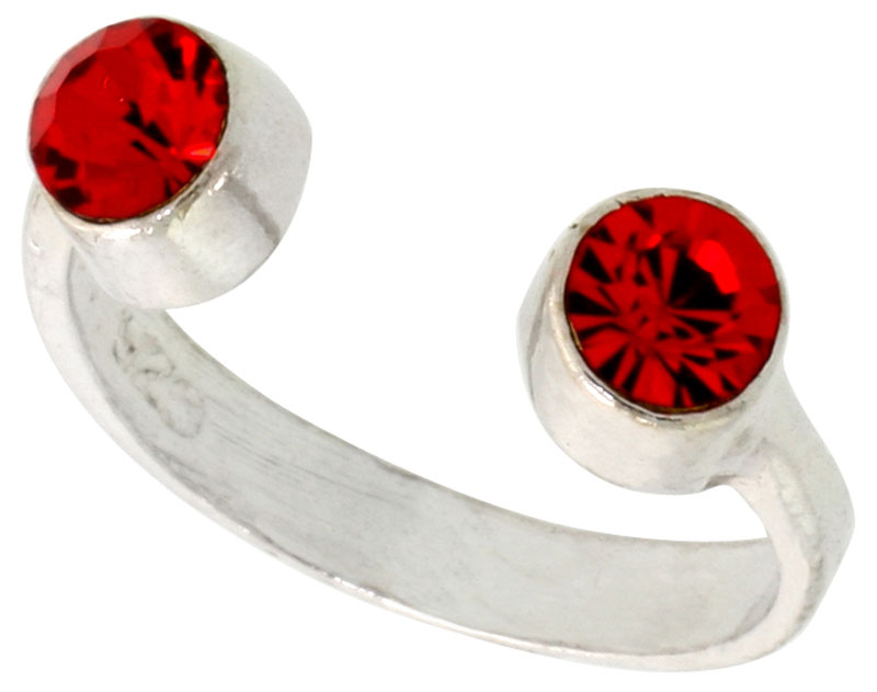 Ruby-colored Crystals (July Birthstone) Adjustable Toe Ring / Kid's Ring in Sterling Silver, sizes 2 to 4