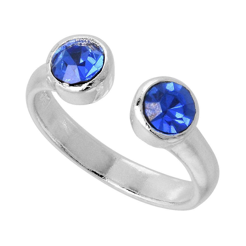 Blue Sapphire-colored Crystals (September Birthstone) Adjustable Toe Ring / Kid's Ring in Sterling Silver, sizes 2 to 4