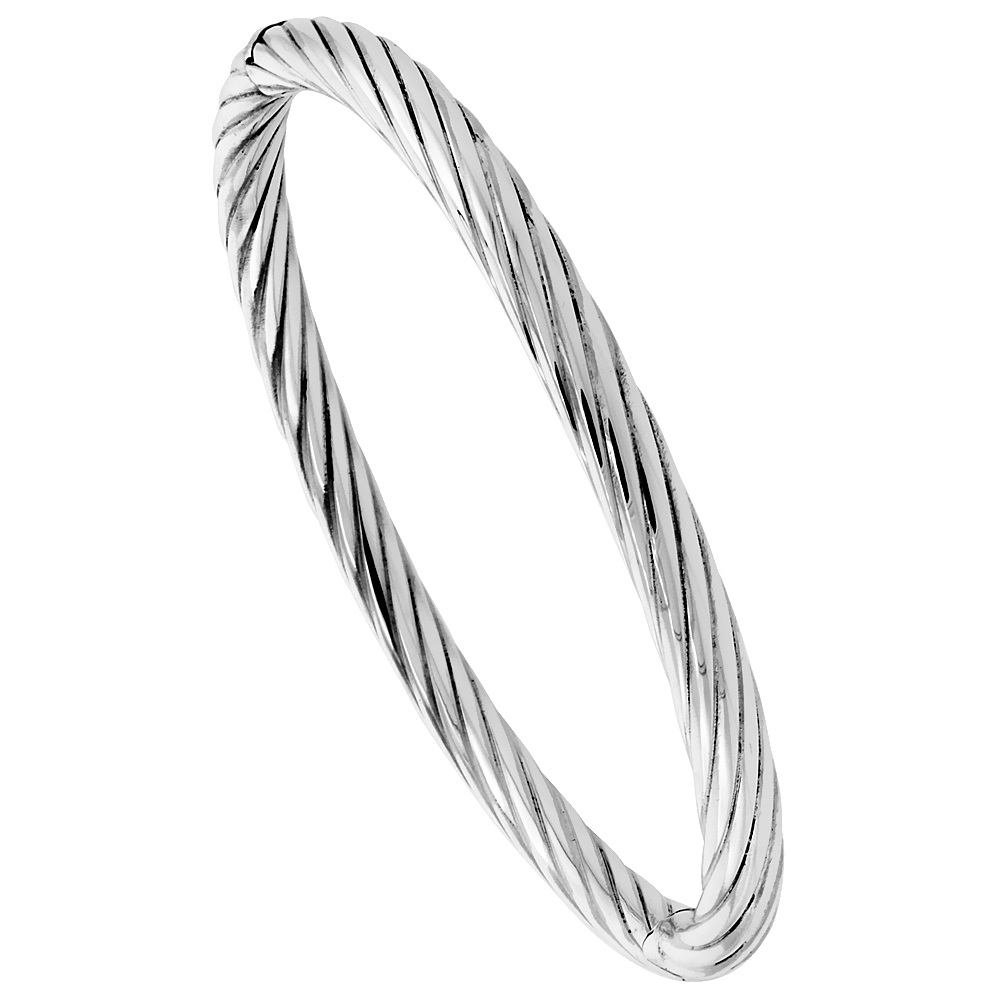 Sterling Silver Bangle Bracelet Twisted Tube High Polished 1/4 inch wide