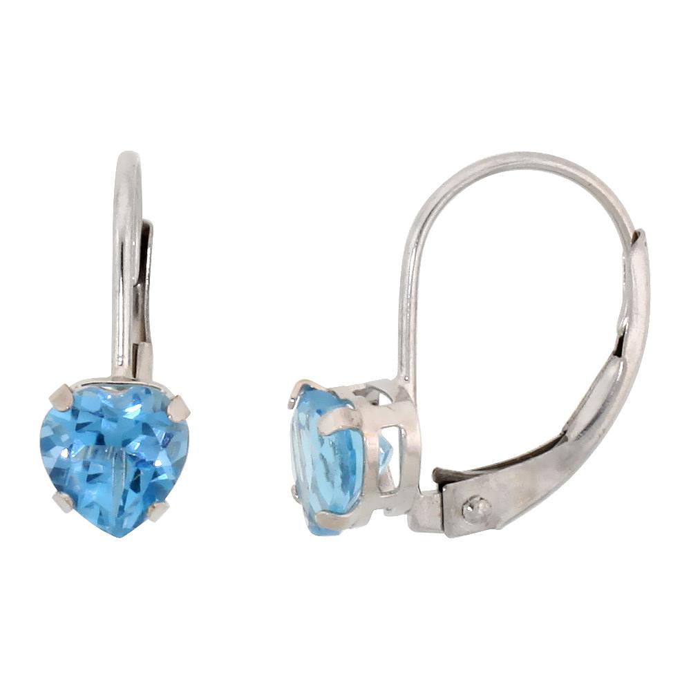 10k White Gold Natural Blue Topaz Heart Leverback Earrings 5mm December Birthstone, 9/16 inch long