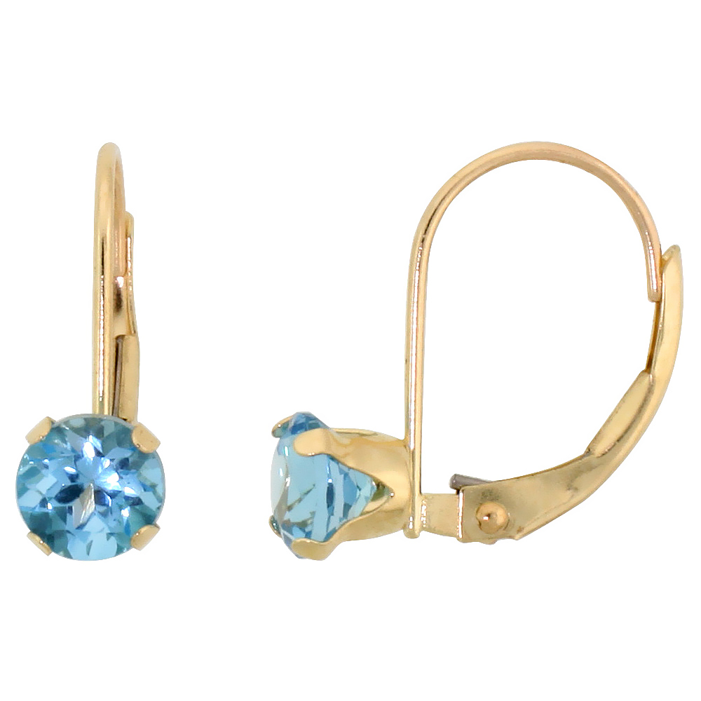 10k Yellow Gold Natural Blue Topaz Leverback Earrings 5mm Brilliant Cut December Birthstone, 9/16 inch long