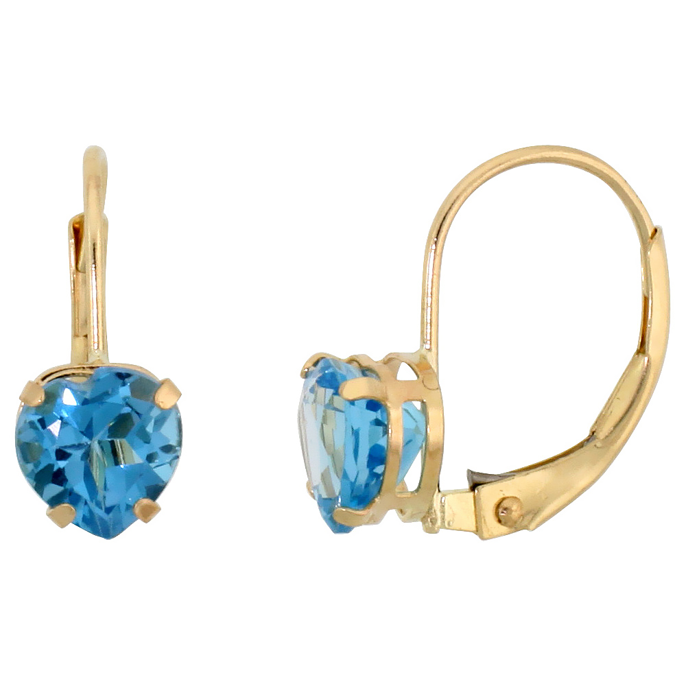10k Yellow Gold Natural Blue Topaz Heart Leverback Earrings 6mm December Birthstone, 9/16 inch long