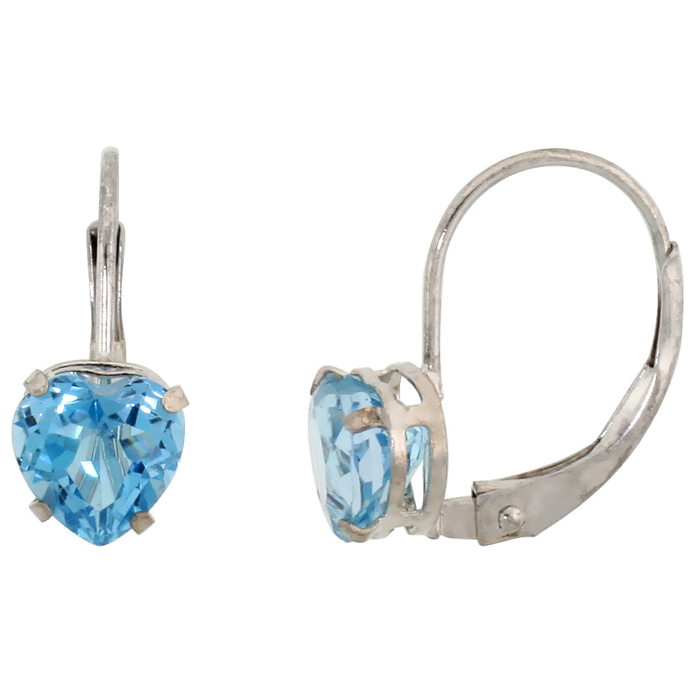 10k White Gold Natural Blue Topaz Heart Leverback Earrings 6mm December Birthstone, 9/16 inch long
