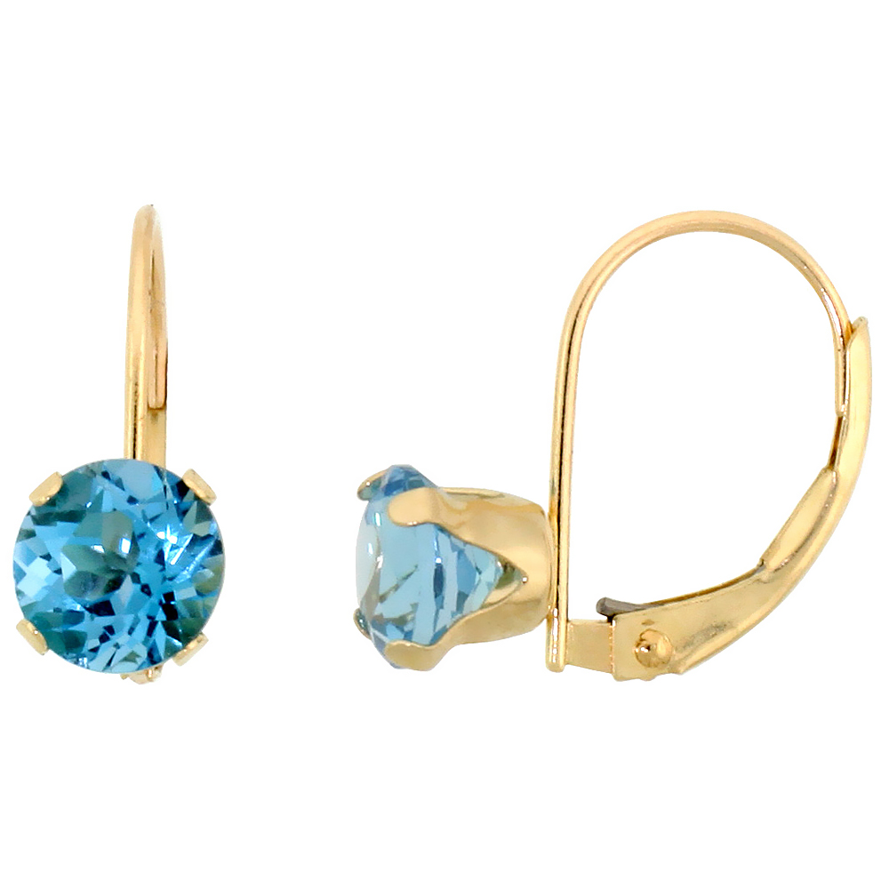 10k Yellow Gold Natural Blue Topaz Leverback Earrings 6mm Brilliant Cut December Birthstone, 9/16 inch long