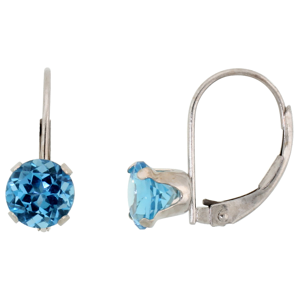 10k White Gold Natural Blue Topaz Leverback Earrings 6mm Brilliant Cut December Birthstone, 9/16 inch long