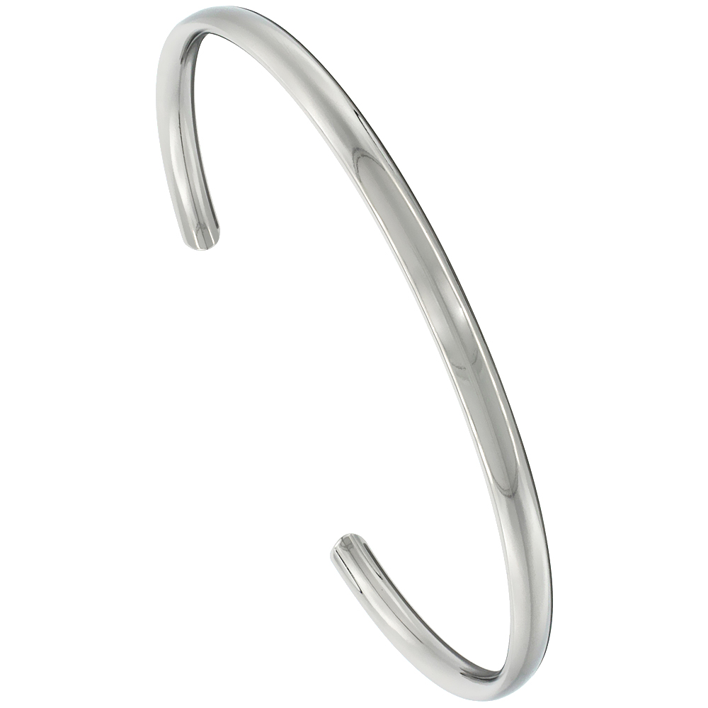 4 mm Domed Titanium Cuff Bracelet for Men & Women Highly Polished Comfort-fit 8 inch Wrist size 3/16 inch wide
