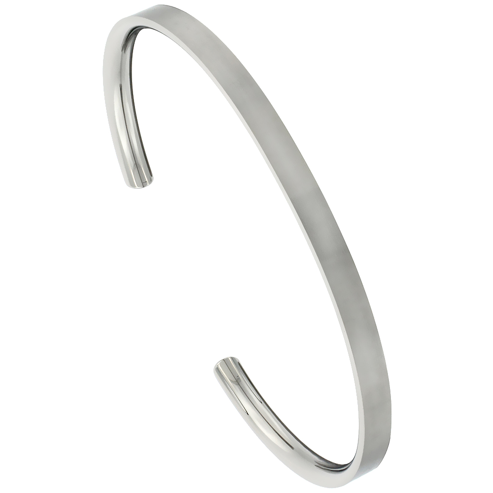 4 mm Flat Titanium Cuff Bracelet for Men & Women Matte finish Comfort-fit 8 inch Wrist size 3/16 inch wide