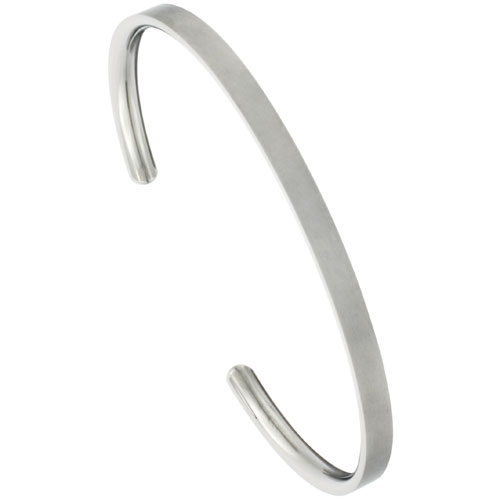 Titanium Flat Cuff Bangle Bracelet CZ Stone Ends Matte finish Comfort-fit, 8 inch long 4 mm 3/16 inch wide