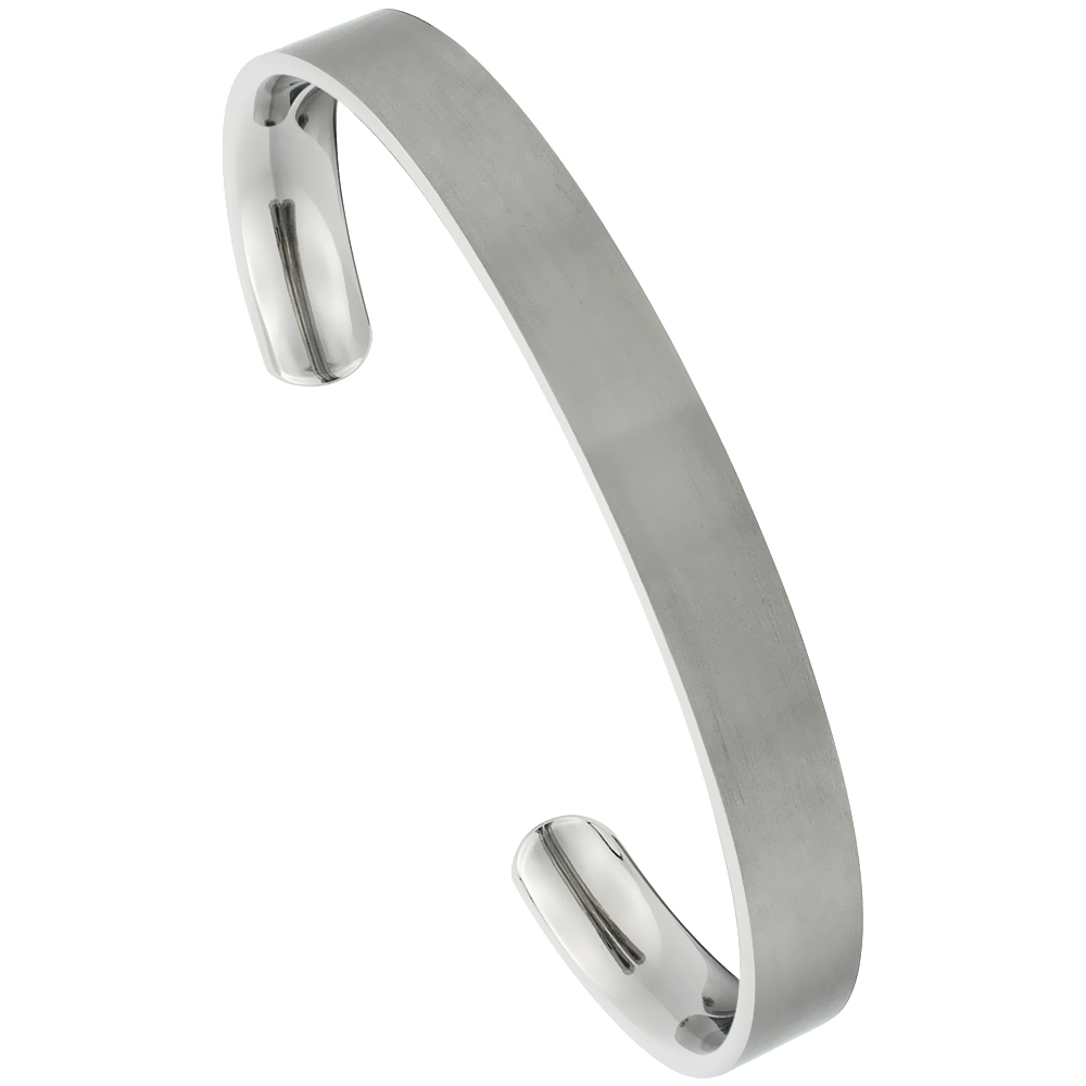 Titanium Flat Cuff Bangle Bracelet Matt finish Comfort-fit, 8 inch long 8 mm 5/16 inch wide