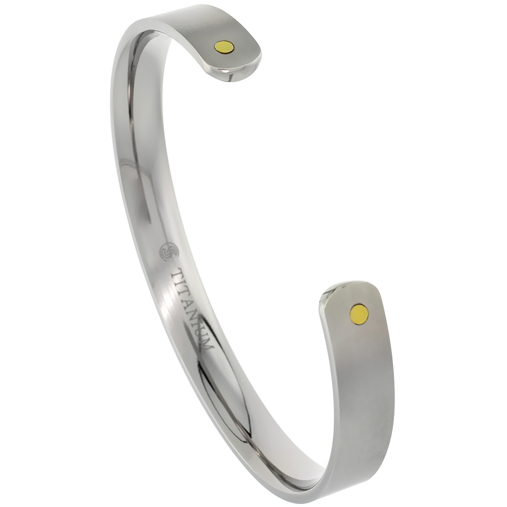 8 mm Flat Titanium Cuff Bracelet for Men & Women Gold Dot Ends Matte finish Comfort-fit 8 inch Wrist size 5/16 inch wide