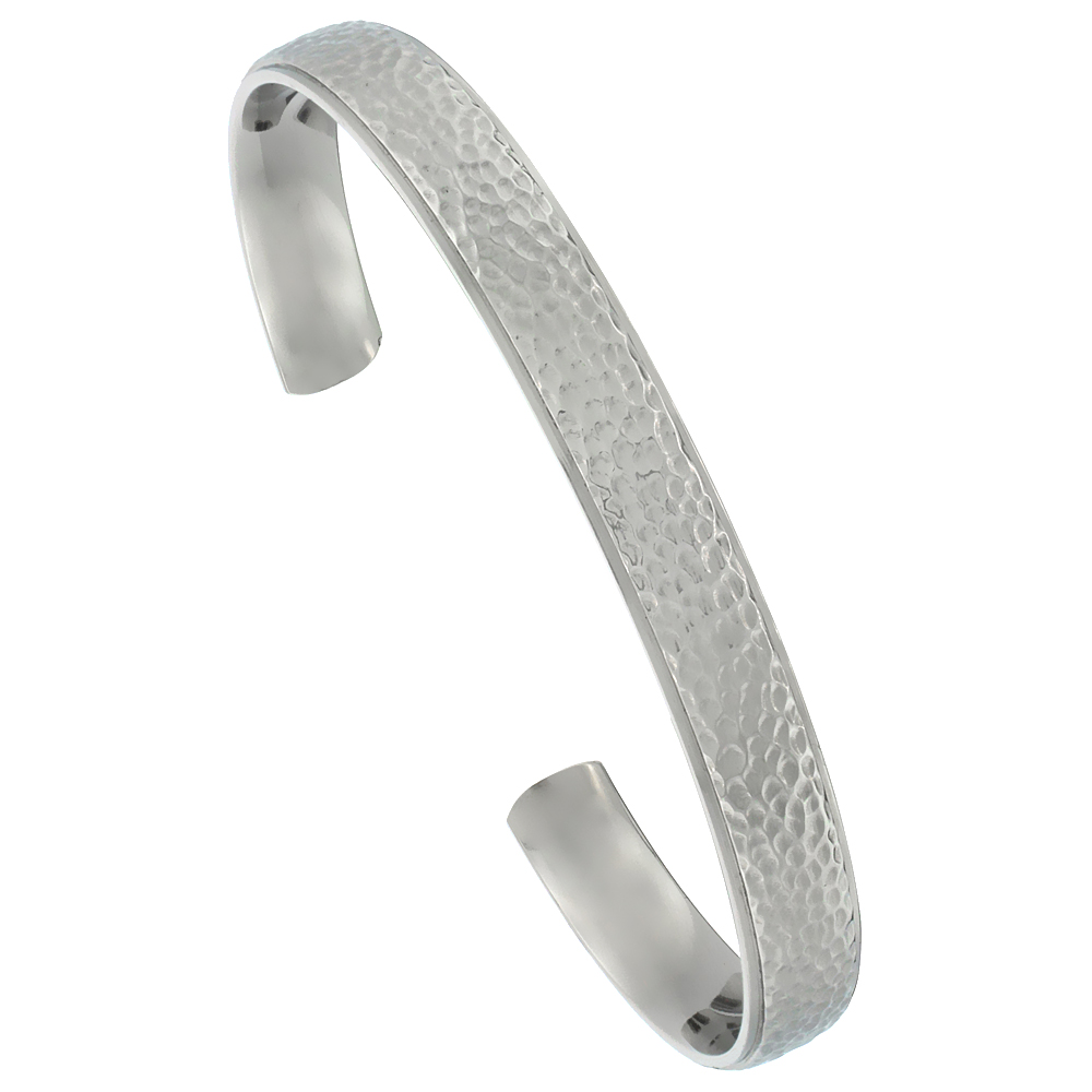 8 mm Flat Titanium Cuff Bracelet for Men & Women Hammered Polish finish Comfort-fit 8 inch Wrist size 5/16 inch wide