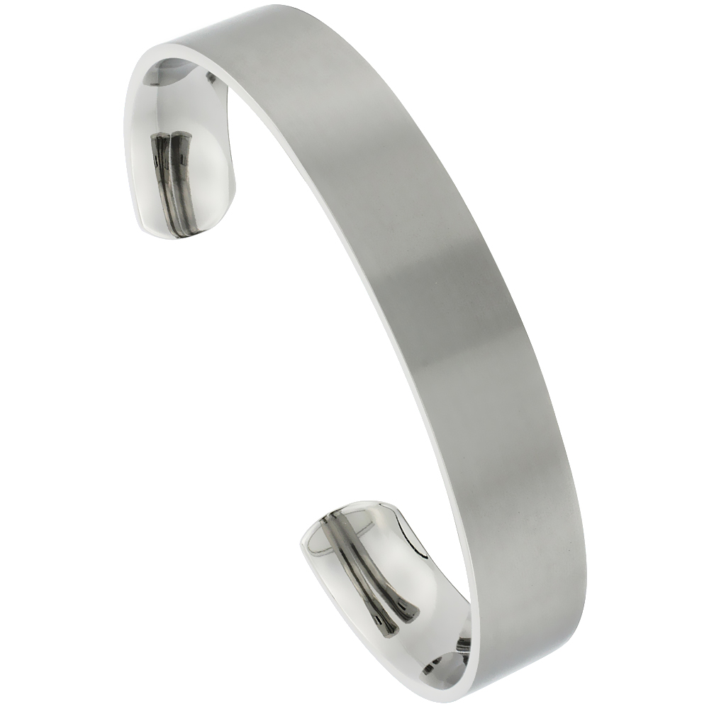 12 mm Flat Titanium Cuff Bracelet for Men & Women Matte finish Comfort-fit 8 inch Wrist size 1/2 inch wide