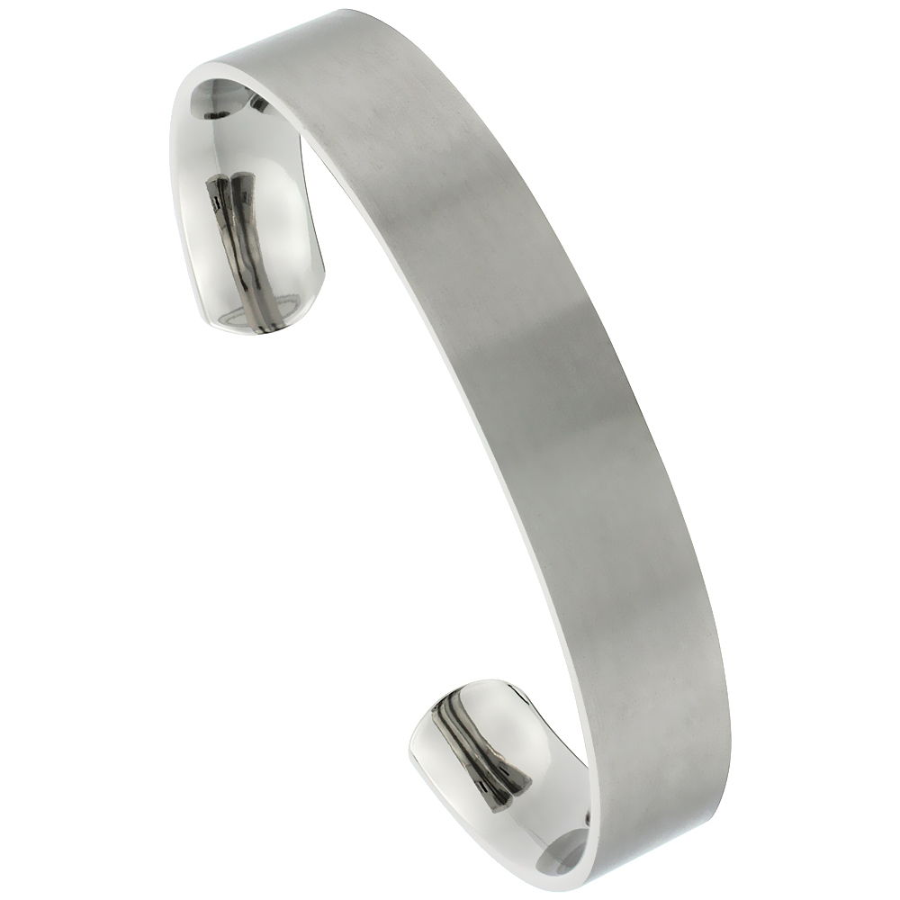 12 mm Flat Titanium Cuff Bracelet for Men & Women Gold Dot Ends Matte finish Comfort-fit 8 inch Wrist size 1/2 inch wide