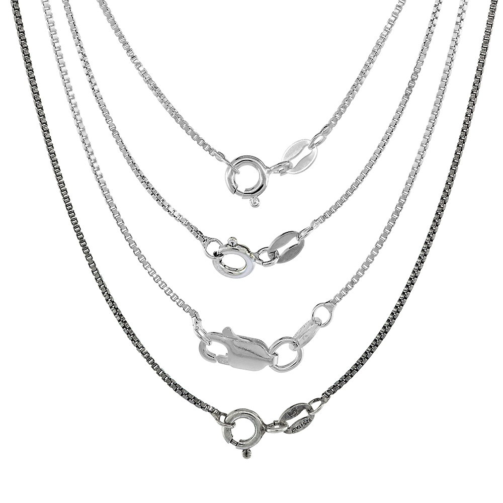 Sterling Silver 1mm Box Chain Necklace for Men and Women Assorted Finishes Nickel Free Italy 14 - 36 inch lengths