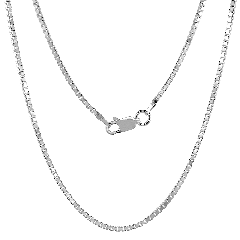 Sterling Silver BOX Chain Necklaces & Bracelets 1.4mm Square Cut Nickel Free Italy, sizes 7 - 30 inch