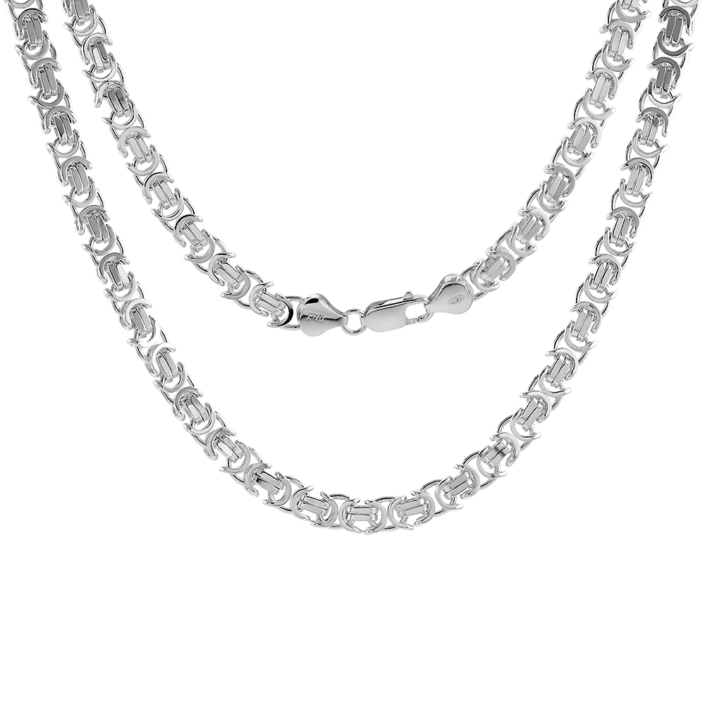 7mm Sterling Silver FLAT BYZANTINE Chain Necklaces & Bracelets 7mm Sizes 7 - 30 inch