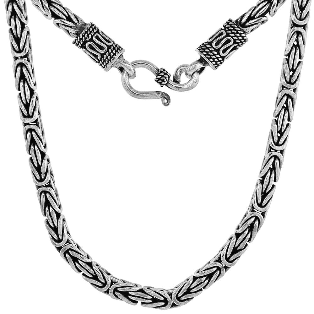 4mm Sterling Silver Square BYZANTINE Chain Necklaces & Bracelets 4mm Antiqued Finish Nickel Free, 7-30 inch