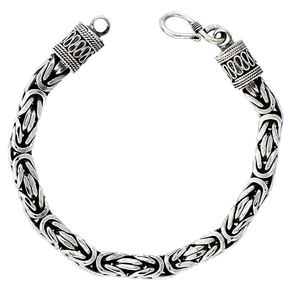 Fine Bracelets Precious Metal Without Stones Sterling Silver Fancy Round Byzantine Bracelet New