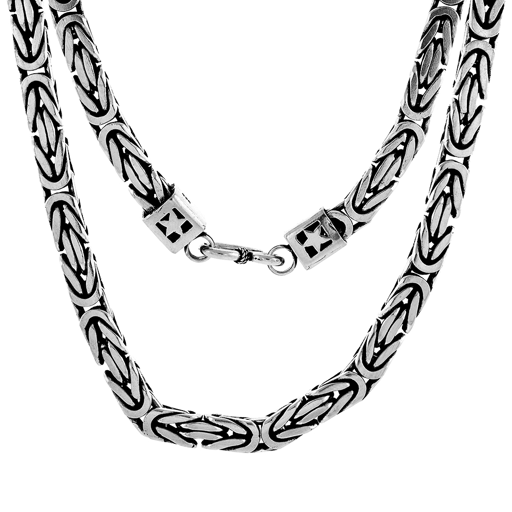 7mm Sterling Silver Square BYZANTINE Chain Necklaces & Bracelets 7mm Antiqued Finish Nickel Free, 8-30 inch