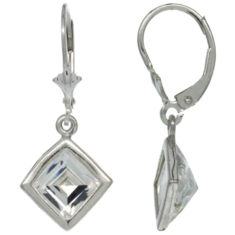 Sterling Silver 7mm Square CZ Lever Back Earrings 1 3/16 in. (30 mm) tall