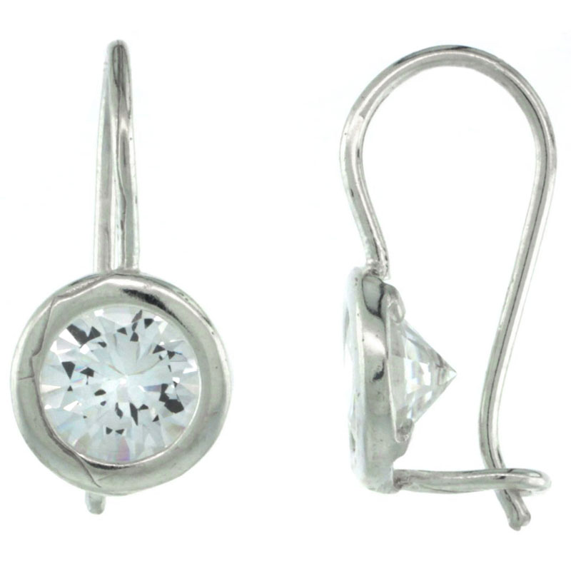 Sterling Silver 7mm Round CZ Hook Earrings 13/16 in. (21 mm) tall
