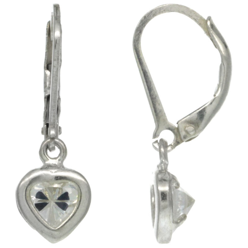 Sterling Silver 5mm Heart CZ Lever Back Earrings 15/16 in. (23.5 mm) tall
